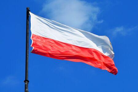 Polish national flag in Poznan - Poland.