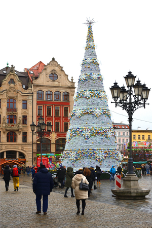 Christmas market on Market square at the Old town of Wroclaw - Poland.