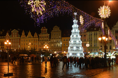 Christmas market on the Market square at the Old town of Wroclaw in the evening - Poland. Editöryel