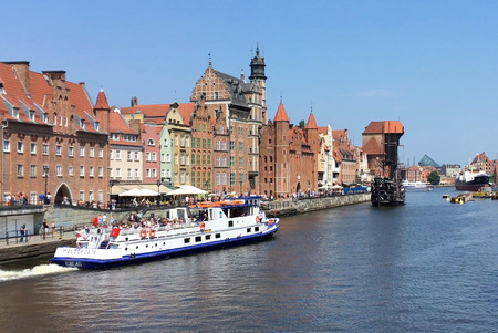 Cityscape of Gdansk with the ship at the river Motlawa - Poland. Redactioneel