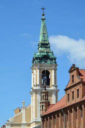 Holy Spirit Church next to the Town hall on the market place Rynek Staromiejski in Torun - Poland. Reklamní fotografie