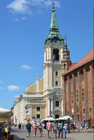 Holy Spirit Church next to the Town hall on the market place Rynek Staromiejski in Torun - Poland. Editorial