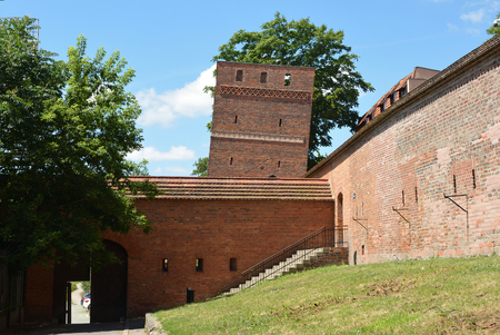 City wall and the Leaning tower of Torun - Poland. Editorial
