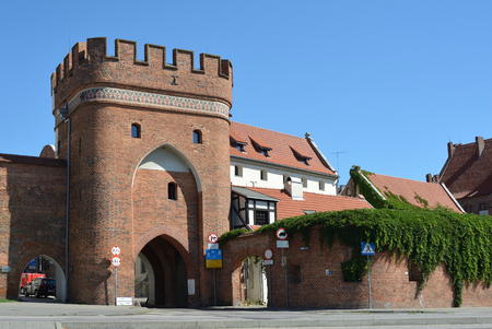 Bridge gate as a part of the city fortification of Torun - Poland. Editorial