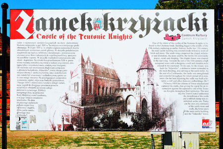 Information board at the Ruins of Torun Castle built 1260 by the Teutonic Knights - Poland.