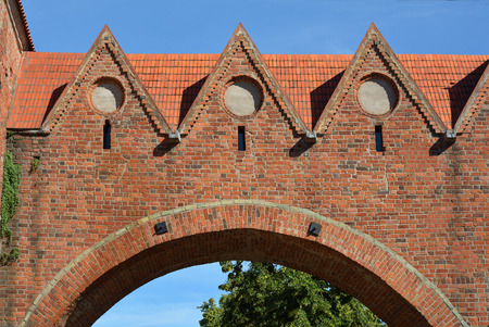 Detail of the old city wall of Torun from the 13th century - Poland.
