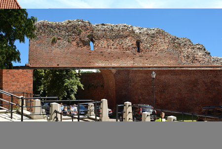 Old city wall of Torun from the 13th century - Poland.