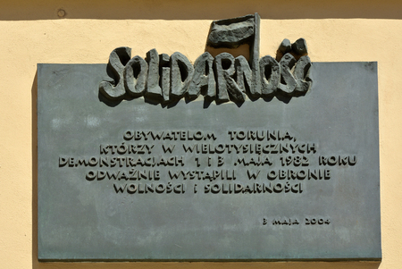 Memorial board to the activity of the Polish trade union Solidarnosc in Torun - Poland.