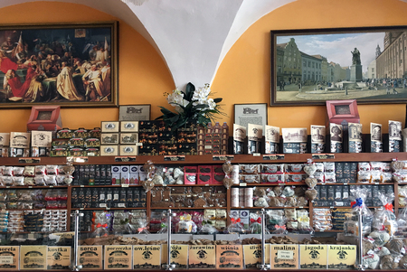 Shop with the traditional Toruner Gingerbread Pierniki in Torun - Poland.