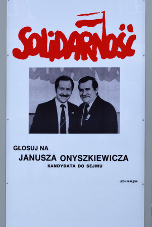 Election poster of the Polish trade union Solidarnosc for the parliamentary election to the Sejm in the Old Town of Gdansk - Poland.
