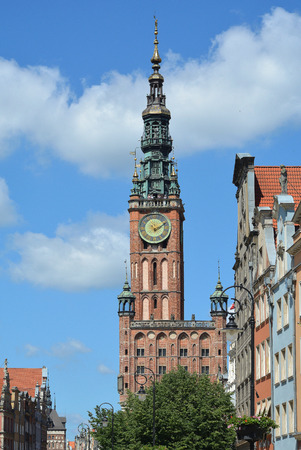 Old town of Gdansk with the Long market and view of the Town hall - Poland. Editorial