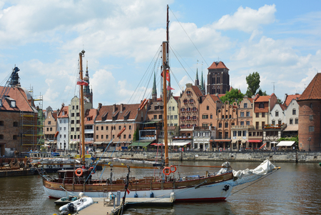 Cityscape of Gdansk at the river Motlawa with the tower of the Church Saint Mary - Poland.