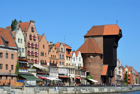 Cityscape of Gdansk at the river Motlawa with Crane gate - Poland.