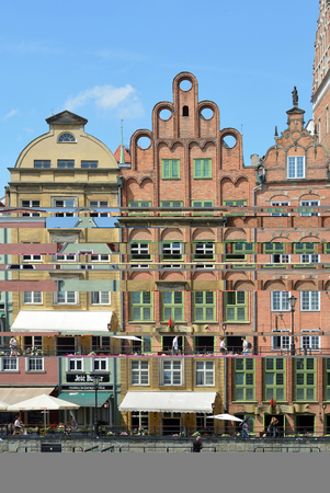 Cityscape of Gdansk with buildings at the river Motlawa - Poland.