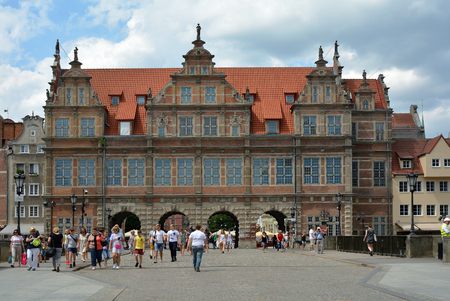 Pedestrians in front of the Green gate in the old town of Gdansk - Poland. Editorial