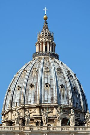 Dome of the Basilica Saint Peter in Rome - Italy. Banco de Imagens