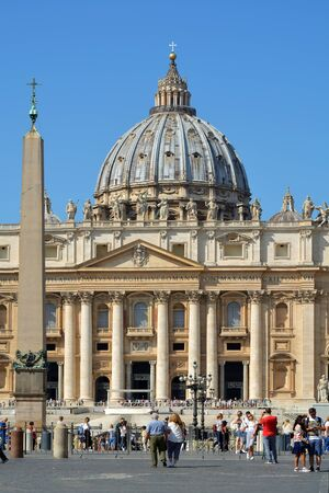People at the Saint Peters square bevor at the Saint Peters Basilica in Rome - Italy. Stock Photo