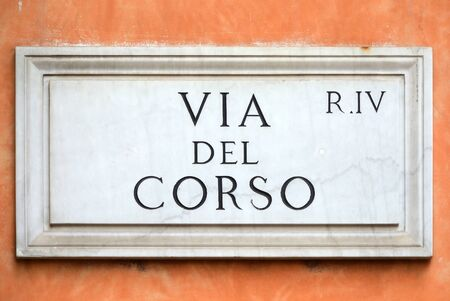 Street sign the Via del Corso in Rome - Italy.