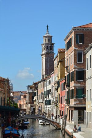 Church of San Barnaba at the canal Rio di San Barnaba in the Campo Dorsoduro in Venice - Italy. Editorial