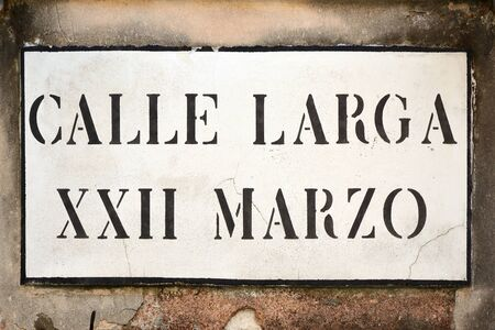 Street sign from the Calle Larga XXII Marzo in Venice - Italy.