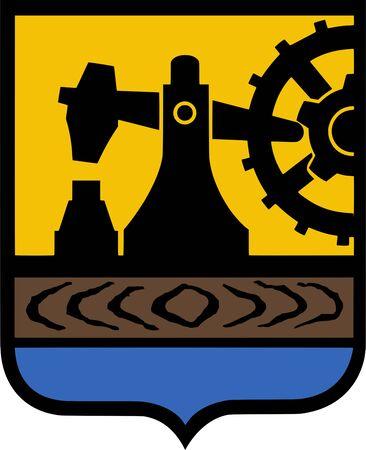 Coat of arms of the Polish city of Katowice - Poland. Zdjęcie Seryjne