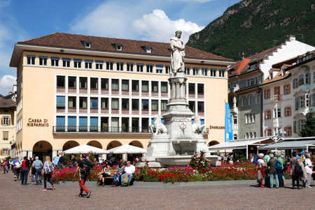 Monument to the poet Walther von der Vogelweide on the Walther Square in Bolzano in South Tyrol - Italy.