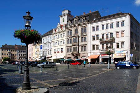Patrician houses on the market before the City hall of the Saxon town of Zittau in the Upper Lusatia - Germany. Éditoriale