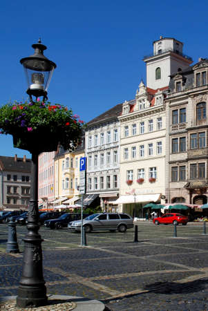 Zittau, Saxony, Germany - September 9, 2008: Patrician houses on the market before the City hall of the Saxon town of Zittau in the Upper Lusatia, Éditoriale