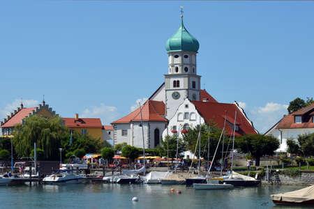 Wasserburg at Lake Constance in Bavaria with Parish church Saint George - Germany.