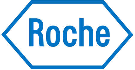 Logo of the pharmaceutical company Hoffmann-La Roche with seat in Basel. - Switzerland. Editorial