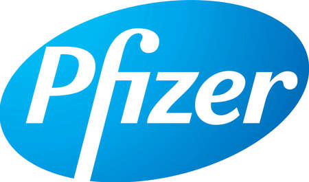 Logo of the US pharmaceutical company Pfizer with seat in New York - United States.