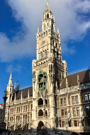 New Townhall of Munich on Marienplatz with the seat of the Lord Mayor of the Bavarian capital - Germany.