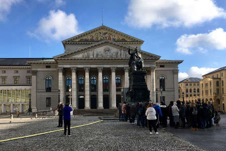 The National Theater of Munich with the Monument to King Maximilian on Max-Joseph-Platz is the venue of the Bavarian State Opera - Germany.
