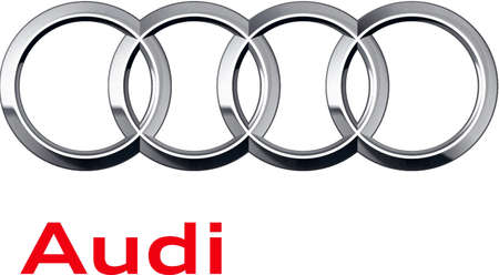 Company logo of the German automotive corporation Audi AG based in Ingolstadt - Germany.