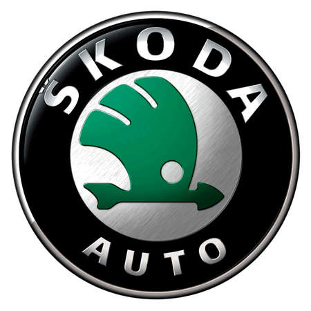Company logo of the Czech automobile manufacturer Skoda with seat in Mlada Boleslav - Subsidiary firm of the German car manufacturing group Volkswagen AG - Czech Republic.