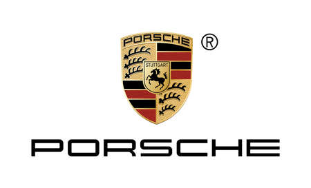 Company logo of the German automobile manufacturer Porsche with seat in Stuttgart - Germany. Editorial