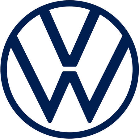 Company logo of the German automotive corporation Volkswagen VW based in Wolfsburg - Germany.