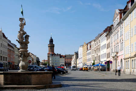 Upper market of Görlitz in Saxony with view of the Reichenbacher tower - Germany.