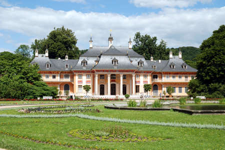 Pillnitz castle in Dresden with the mountain palais and the great castle park - Germany.