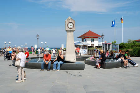 People in the summer at the Beach promenade in Binz on the Island of Rügen in Mecklenburg-Western Pomerania - Germany.