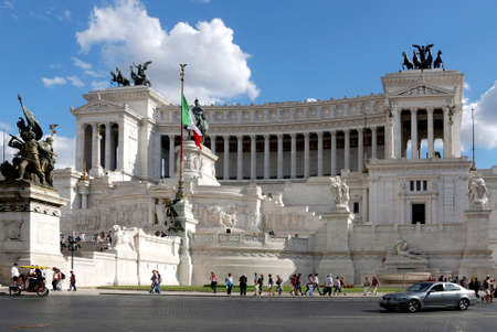 National monument to king Viktor Emanuel II. And monument of the unknown soldier at the Piazza Venezia in Rome - Monumento Nazionale a Vittorio Emanuele II. - Italy.