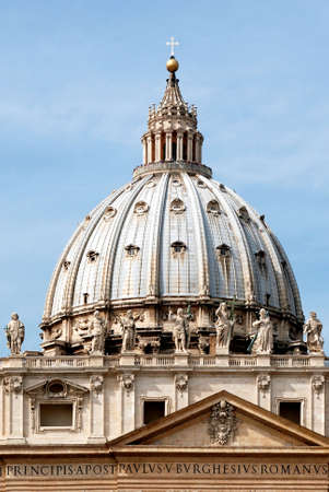 Dome of the Saint Peters Basilica in the Vatican City in Rome - Italy. Фото со стока