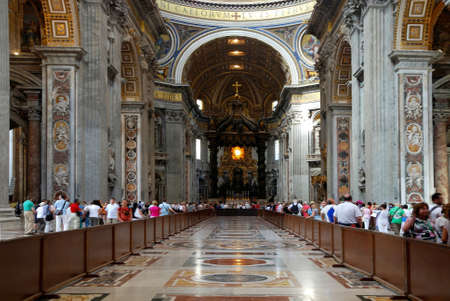 Interior view of the Saint Peters Basilica on the Saint Peters Square in Vatican City in Rome - Italy.