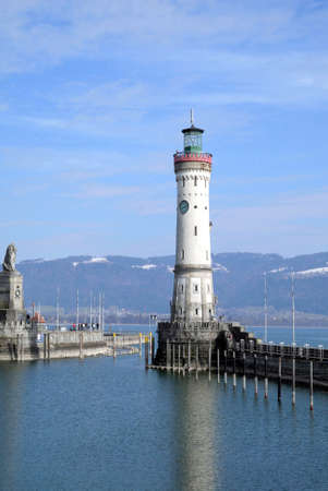 New Lighthouse of Lindau in Lake Constance - Germany.