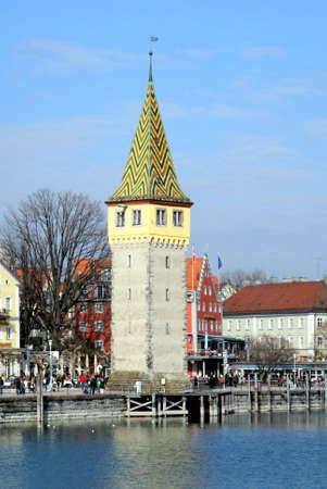 Port of Lindau in Lake Constance with Mang Tower - Germany.