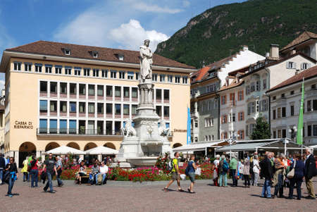 Monument to the poet Walther von der Vogelweide on Walther Square in Bolzano in South Tyrol - Italy.