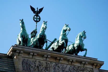The Quadriga at the Brandenburg Gate in German capital Berlin - Germany. Redactioneel