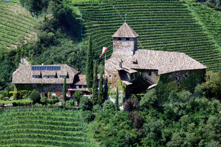 Castle Warth in Eppan at the South Tyrolean wine route from the 15th century. - Italy.