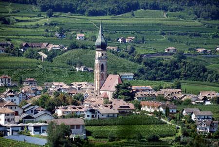 Gothic parish church of St. Paul in the vineyards along the South Tyrolean wine street near Bolzano - Italy.