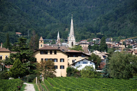 View of Kaltern at the South Tyrolean wine route - Italy.